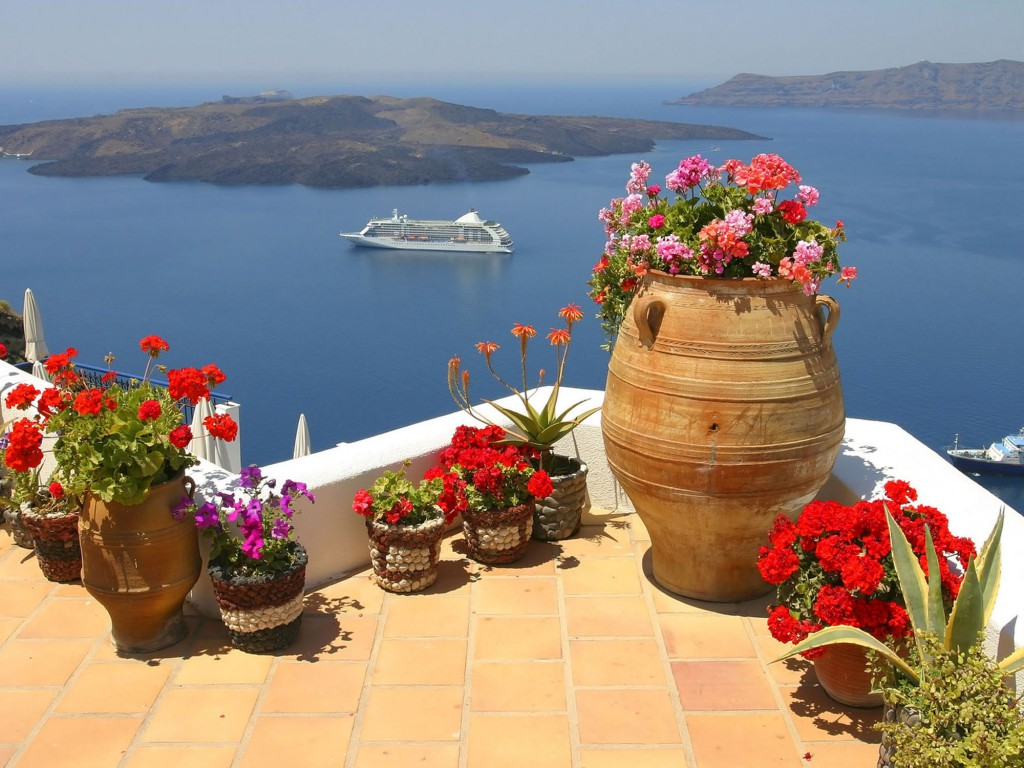 beauty blue europe europe famous greece greece greek island house wind ship color architecture sea white sky tourism travel ocean holiday cruise capital santorini flowers contrast tourist volcano panorama aegean pano vulkan thira typical